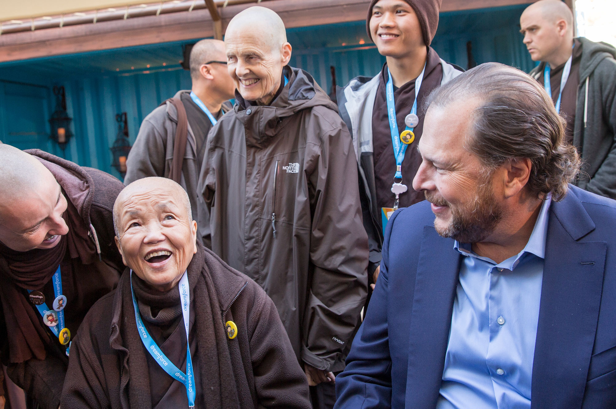 Marc Benioff, CEO of San Francisco-based Salesforce with Vietnamese monastics