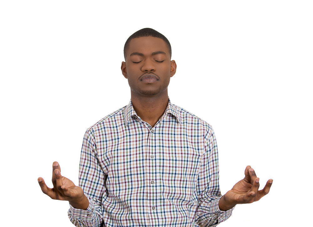 Closeup portrait of handsome young man, eyes closed, in meditation zen mode, isolated on white background. Stress relief techniques concept. Positive human emotions, facial expression sign, feelings-2